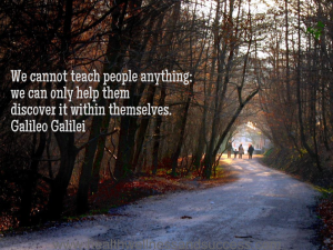 We cannot teach people anything; we can only help them discover it within themselves. Galileo Galilei