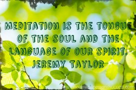 Meditation is the tongue of the soul and the language of our spirit. Jeremy Taylor