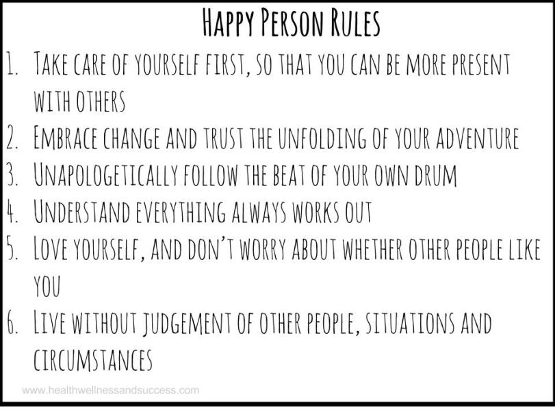 completely list of rules to be a happy person